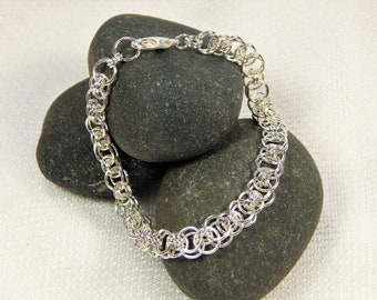 Silver Chain Mail Bracelet in Helm Chain (B80)