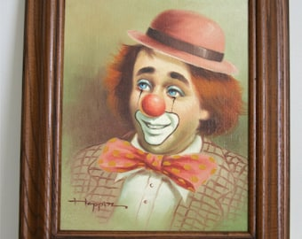 Vintage Authentic Michael Grow Hoppin Clown Painting, Original Oil Painting by Hoppin, Artistic Interiors Inc. Certification Number 0019770