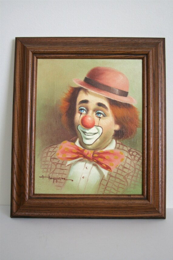 Vintage Authentic Michael Grow Hoppin Clown Painting Original