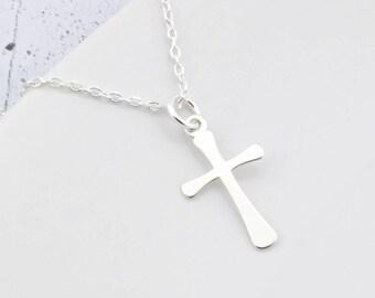Sterling Silver Cross Necklace, Cross Charm Necklace, Tiny Cross, Silver Cross, Cross Pendant, Little Cross, Cross