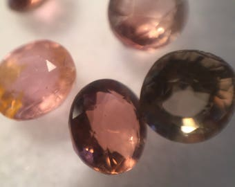5 assorted pink tourmalines