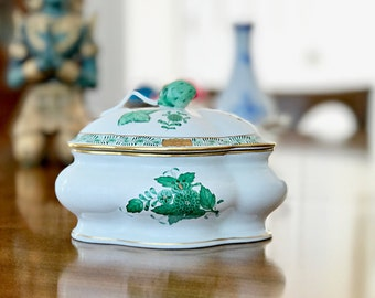 Herend Hungarian Porcelain Trinket Box Bonbon Box Green Candy Dish