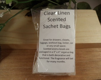 Clean Linen Scented Sachet Bag - Clean Fresh Scent -Great for Drawers, Closets, Luggage, Workout Bags- Hostess Gifts-Bidal -Shower Gifts