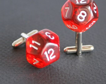 Transparent Ruby Red 12 Sided Dice Cufflinks d12 Free gift bag Birthday Gift Idea