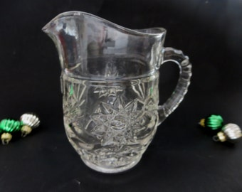 Vintage Glass Pint Pitcher Creamer - Glass Pitcher by Anchor Hocking  EAPC Prescut Glass Small Pitcher With Star of David