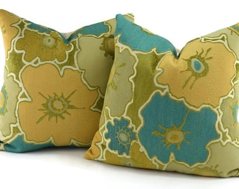 2 Woven & Chenille 16x16 Throw Pillow Covers, Turquoise, Aqua, Gold, Green and Tan Woven and Chenille Flower Pillow Cover