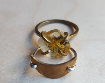 Dendritic Quartz Ring in Bronze // US size 8 // EU size 56 // Claw Setting