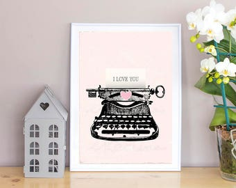 Vintage Typewriter Wall Art Print,Love message,Typewriter print,Retro Wall Decor,Love card,Key,text,Hand drawn,Illustration printable Art,