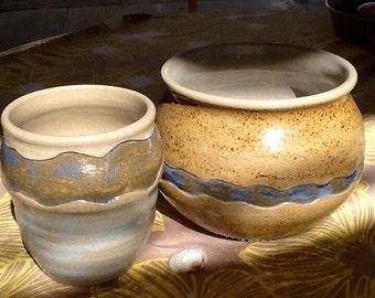Clay pot, set of 2, Winding river design