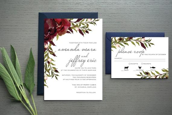 Perry Cabin Wedding Invitation