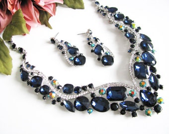 Statement Wedding Necklace in Silver tone and Blue Great Bridal Wedding Jewelry Pageant Jewelry