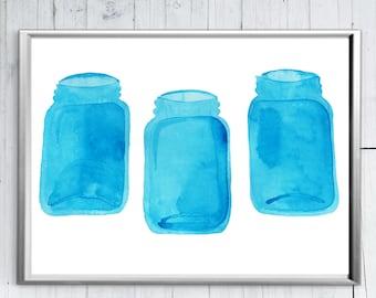 Blue Mason Jar Art - Mason Jar Painting - Watercolor Mason Jar - Gift for Her - Kitchen Print - Blue Mason Jars -  Printable Mason Jars