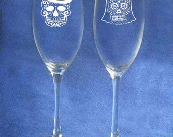 Dia De Muertos Sugar Skull Wedding Toasting Glasses Personalized
