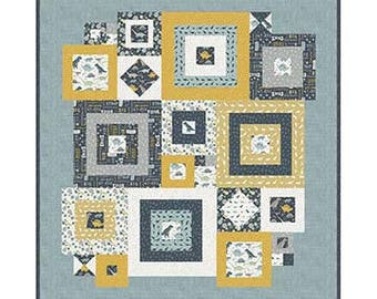 "Squared Away Quilt Pattern by Deena Rutter Designs- Finished Quilt Size 55"" x 59"""
