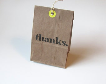 25 Thank You Bags Kraft Extra Small Paper Gift Bags with Bakers Twine Goodie Bags Choose Color Party Favor Bags