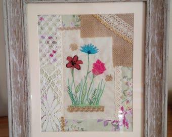 Framed Flowers Textile Art