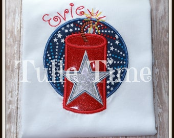 SALE Firecraker 4th of July shirt bodysuit red white blue patriotic