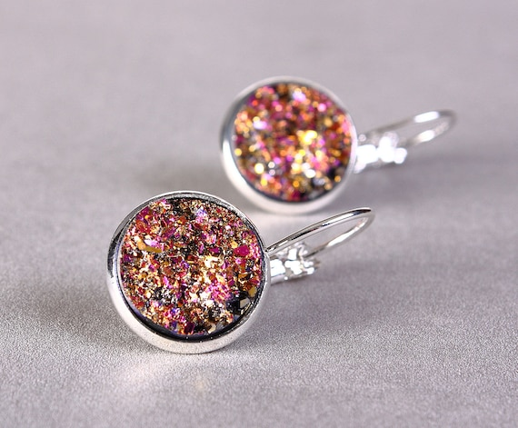 Silver plated pink and gold colors dangle drop earrings - Faux Druzy earrings - Textured earrings - Nickel Lead free (780)