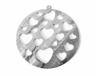 1 x round pendant silver hollowed hearts engraved metal 40mm