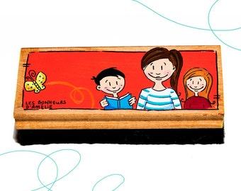 Brosse à tableau, enfants, enseignante, cadeau, primaire