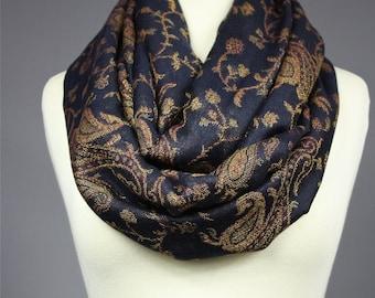 Black infinity scarf, Black scarf, pashmina, paisley, Pashmina shawl