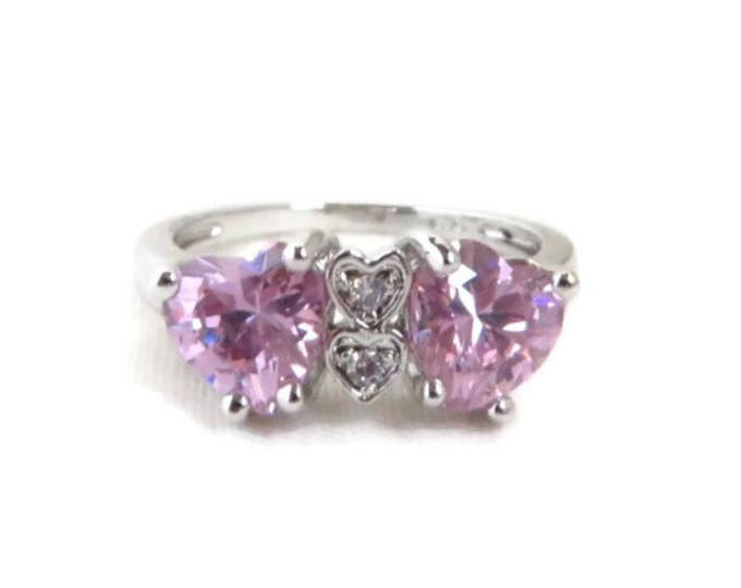 Pink CZ Hearts Ring | Vintage Sterling Silver Ring, Size 6.5