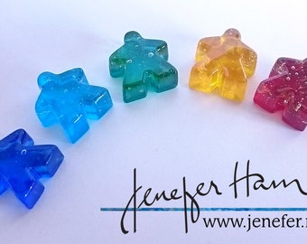 Glass Meeples - SET OF 4! Cast glass Player Marker by Jenefer Ham Pawns Board Game Glass Sculpture