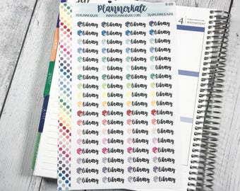 S-25 || LIBRARY Stickers for Planner (72 Removable Matte Stickers)