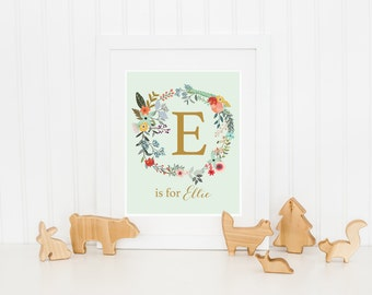 Ellie Print, Custom Name, Printable, E is for Ellie, Floral Wreath, Gift for, New Baby, Girl Monogram, Instant Download