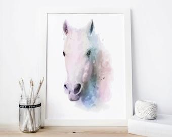 Horse Print, horse Watercolor horse Printable, horse Painting, horse decor, horse Wall Art, horse art animal horse, horse poster