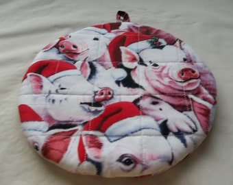 Christmas Pigs, Potholders, Hot Pads, Quilted, Round, Handmade, Cotton Fabric, Insulated, Trivet, 9 Inches