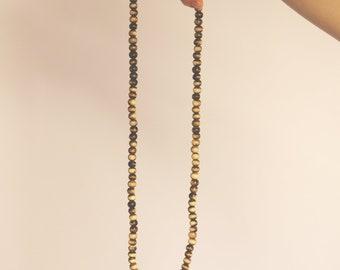 Wood Mala with Gold Tassel