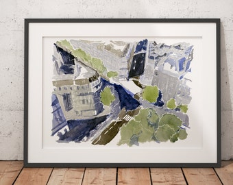 FRAMED Paris Watercolor Print Canal Saint-Martin Blue Wall Art Giclee print
