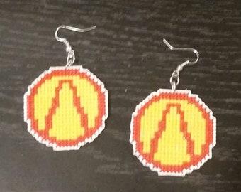 Borderlands Vault logo cross stitch dangle earrings