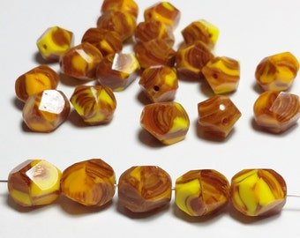 6pcs Orange Yellow Czech Glass Beads - Oval Faceted Retro 10x8mm - GB232
