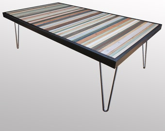 """Reclaimed Wood Coffee Table or Desk -  """"Beach"""" - in Neutrals, Browns, Blues, Greens, and Cream Stripes - Modern Wood Art - Abstract Wood Art"""