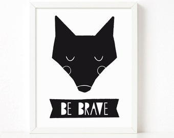 Be Brave poster, Little fox poster, nursery printable wall art, Scandinavian print, nursery decor, nursery art, kids poster