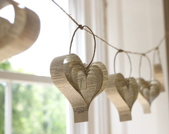 Wedding Bunting, Unique Bunting, Book Wedding Decorations, Cream Decorations, Paper Shakespeare Bunting, Heart Garland