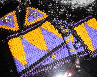 Mardi Gras Beadwoven Armband und Ohrringe Set--lila und Gold--Woohoo... .price reduziert