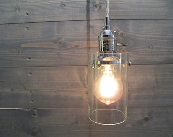 Recycled Wine Bottle Pendant Light - Large Clear Cylinder - Upcycled Industrial Glass Ceiling Light