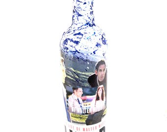 The Secret Life of Walter Mitty Inspired, movie gift ideas, gifts for him, gifts for her, Decoupage Wine Bottle