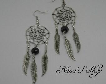 Black dreamcatcher earrings