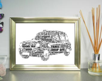 Black Taxi Cab/Hackney Cab Personalised Word Art. FREE UK P&P. Birthday, Retirement, Leaving, Special Occasion,