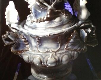 Mid Century Antique Capodimonte Porcelain Italian With PLATINUM Accents