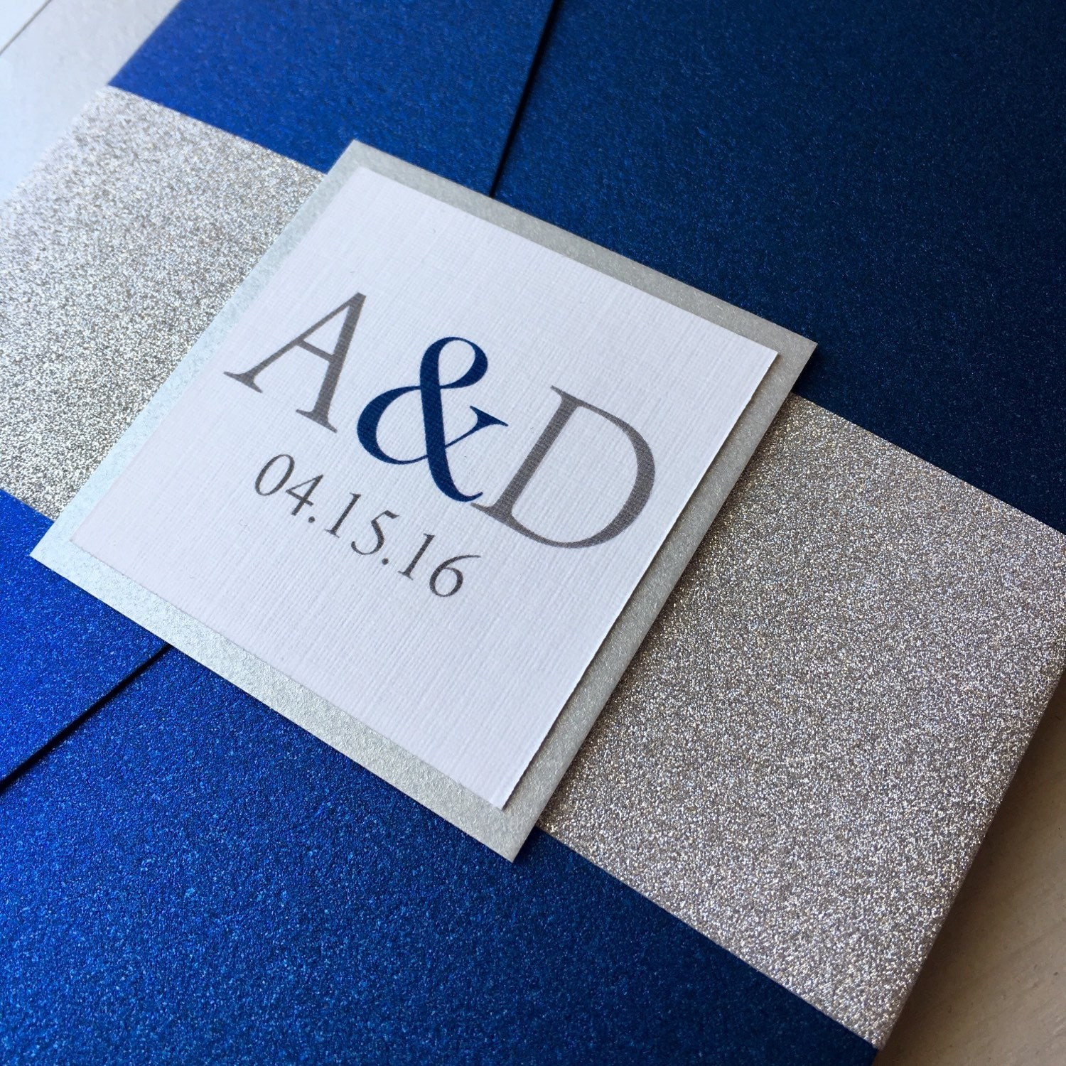 Wedding Invitations Blue And Silver: Silver Glitter And Cobalt Blue Wedding Invitations Blue And