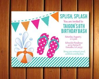 Flip Flop Invitation   Summer Party Inviations   Girls Birthday Invite