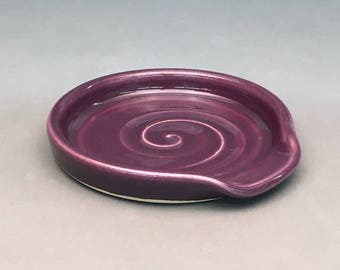 Purple, Spoon Rest, Ceramic Spoon Rest, Pottery Spoon Rest, Handmade Spoon rest, Kitchen Spoon holder