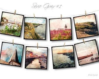 Set of eight postcards 14x14cm - Croix series