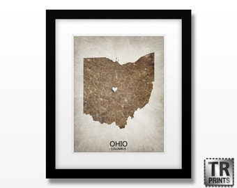 Ohio State Map Art - Home Town Heart Map - Original Custom Map Art Print Available in Multiple Size and Color Options