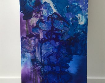 Inky - Rectanglar abstract Mixed Media Canvas 14x28